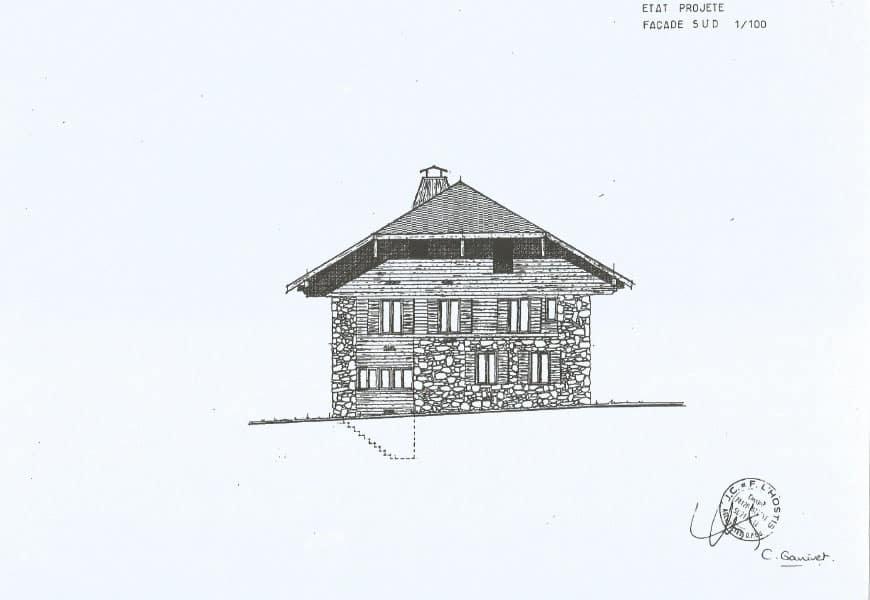 La façade sud du gite chapô julô