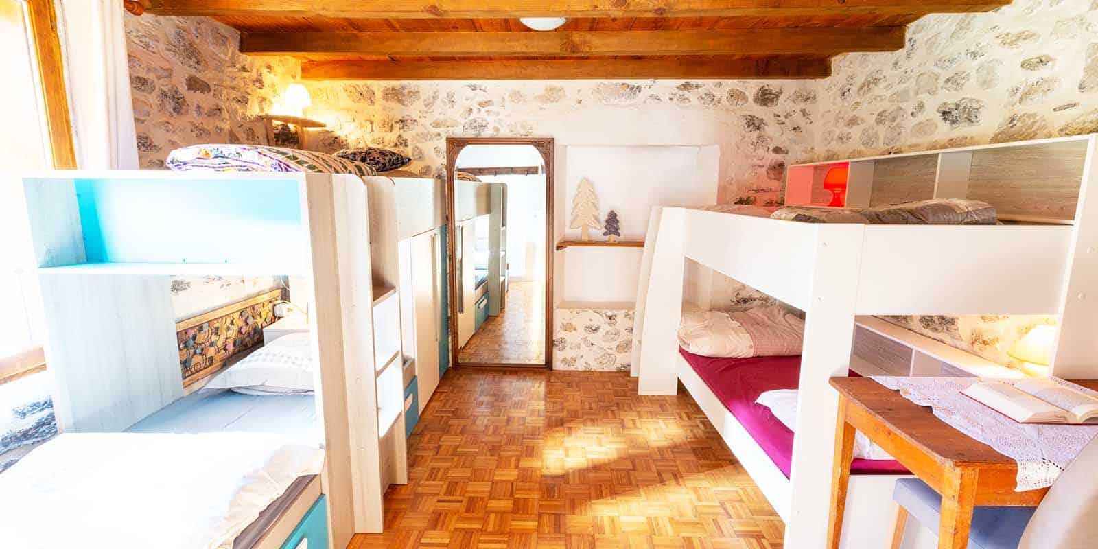 Les différents lits superposés de la chambre Pauline
